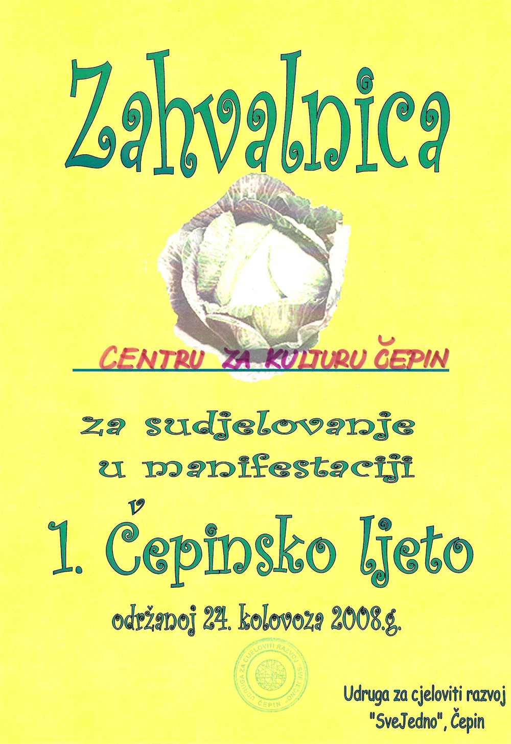 Zahvalnica centru za kulturu Čepin - Knjižnica